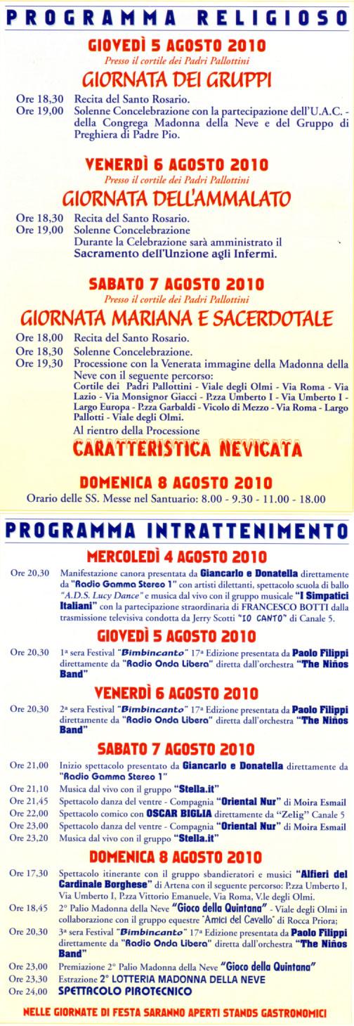 Programma Festa Madonna della Neve
