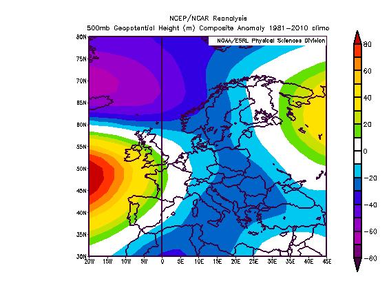 Figura 1 - Anomalie geopotenziali previste per il mese di dicembre 2013