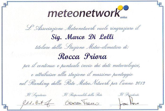 Il riconoscimento di Meteonetwork a Meteo Rocca Priora